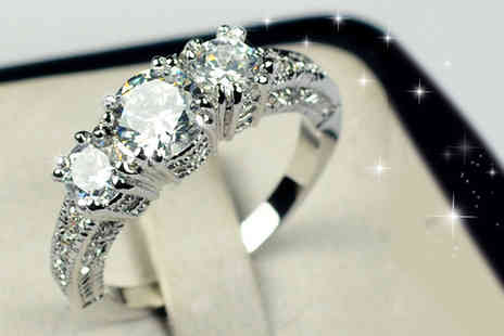 Girly Glitz - White gold plated cubic zirconia ring - Save 80%