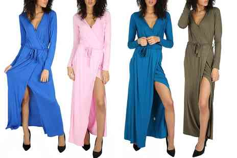 Groupon Goods Global GmbH - Womens Wrap Over Side Slit Maxi Dress - Save 0%