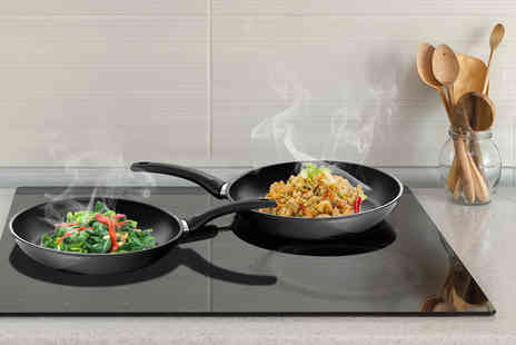 Dream Price Direct - Two Loxton Swiss non stick aluminium frying pan set - Save 49%