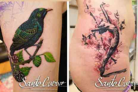 Santo Cuervo Tattoo - One hour tattoo session and 30 minute consultation - Save 61%