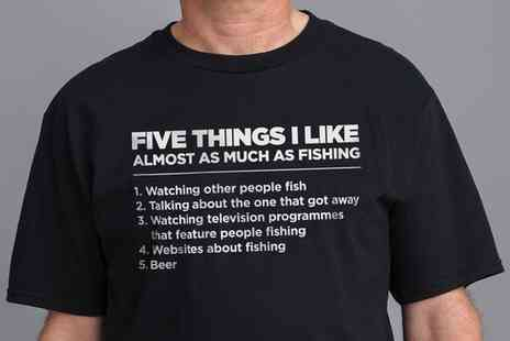 Groupon Goods Global GmbH - ShotDead in the Head Five Things I Like As Much As Fishing Mens TShirt - Save 47%
