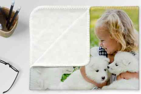 Photo Gifts - Personalised Fleece Photo Blanket in a Choice of Size - Save 82%