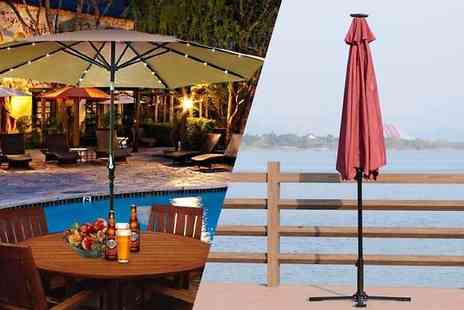 MHStar Uk - 2.7m Outdoor Garden Parasol With Led Lights Available in Two Colours - Save 75%