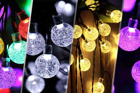 Goods Direct - 6m Solar Powered Crystal Ball String Lights - Save 77%