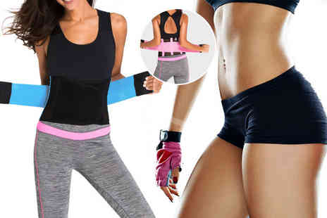 Who Runs the World - Fitness waist trimmer belt choose from pink and blue and - Save 80%