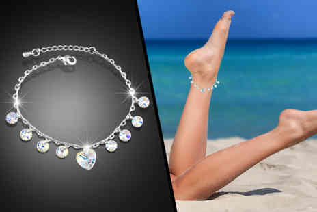 Fakurma - Heart crystal drop anklet - Save 77%