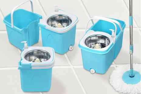 Ckent - Dual spin mop with clean & dirty water bucket plus two heads - Save 50%