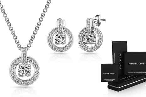 Groupon Goods Global GmbH - Philip Jones Round Halo Jewellery Set with Crystals from Swarovski - Save 83%