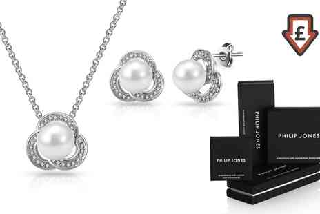 Groupon Goods Global GmbH - Philip Jones Floral Pearl Sets with Crystals from Swarovski - Save 87%