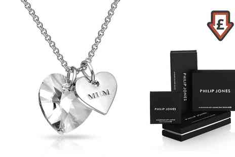 Groupon Goods Global GmbH - Philip Jones Heart Mum Necklaces with Crystals from Swarovski - Save 83%