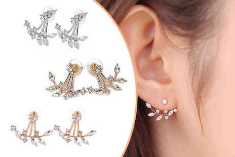 Solo Act - Pair of crystal leaf double drop earrings - Save 64%