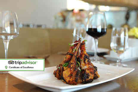 Bengal Brasserie - Indian dining for two with two main courses, two rice dishes, a side dish and naan to share with a glass of wine each - Save 50%