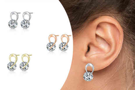 Your Ideal Gift - Set of three ribbon earrings made with crystals from Swarovski - Save 84%