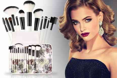Alvis Fashion - 12 piece makeup brush set with a floral storage pouch - Save 64%