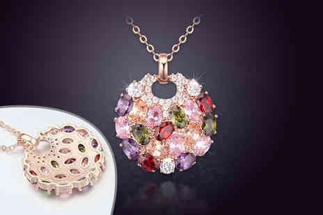 My Boutique Store - Stunning orchid zircon crystal pendant necklace - Save 91%