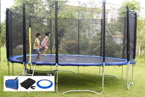 FDS CORPORATION - Trampoline set with safety net enclosure, ladder, carry bag and rain cover - Save 61%