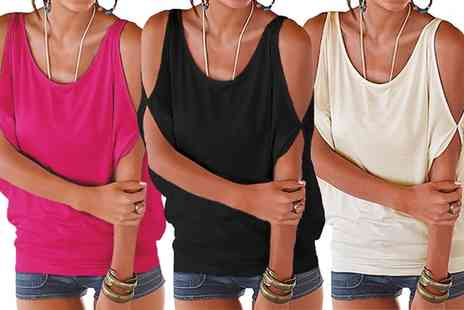 Groupon Goods Global GmbH - Cold Shoulder Jersey Top in Choice of Colour - Save 0%