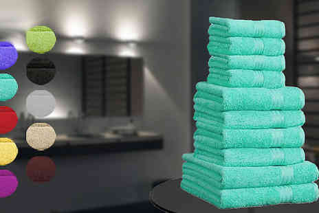 Luxway Online - 10 Piece Egyptian Cotton Towels in 10 Colours - Save 70%