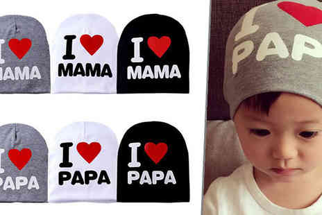 Black Sheep - Mama or Papa Love Baby Beanie Hat in 3 Colours - Save 81%