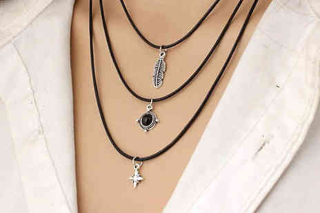 Romatco - Three Layer Retro Style Leaf Necklace - Save 64%