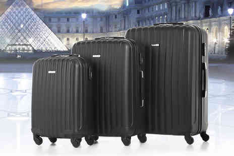Tom Top Technology - Set of three suitcases choose black, blue, purple or silver - Save 44%