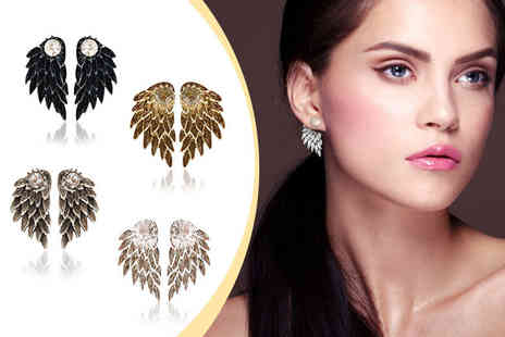 Fakurma - Angel wing double stud earrings choose from four colours - Save 83%