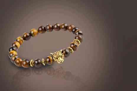 My Boutique Store - Unisex tigers eye bracelet with gold leopard charm - Save 90%