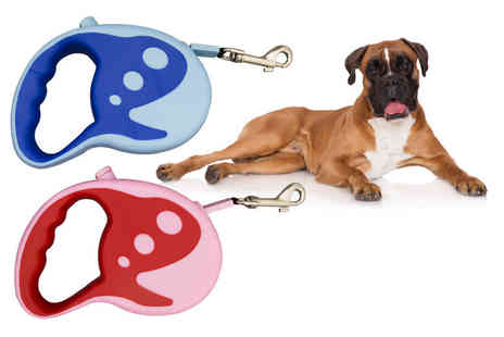 Ckent - Auto retractable dog lead in three or five metres and in blue or pink - Save 71%
