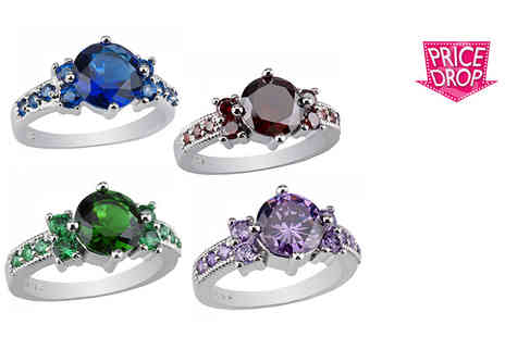 Your Ideal Gift - White gold plated lab created amethyst, ruby, emerald or sapphire ring choose from four sizes - Save 80%