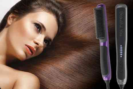 Groupon Goods Global GmbH - Slim Line Heated Hair Brush in Choice of Colour - Save 58%