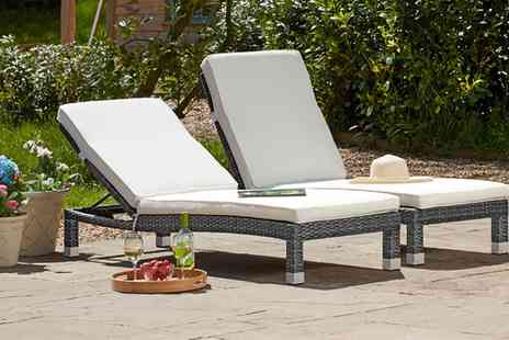 Groupon Goods Global GmbH - One or Two Palermo Rattan Effect Loungers in Choice of Colour With Free Delivery - Save 45%