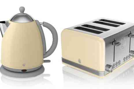 Groupon Goods Global GmbH - Swan Retro Jug Kettle and Two or Four Slice Toaster Set With Free Delivery - Save 54%