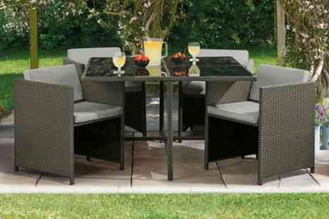 Groupon Goods Global GmbH - Siena Five Piece Cubic Rattan Effect Furniture Set with Option for Furniture Covers or Cushion Covers With Free Delivery - Save 50%