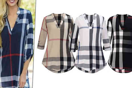 Shapelle - V Neck Checked Blouse in 4 Colours - Save 86%