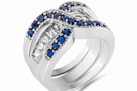GameChanger Associates - Simulated clear & blue sapphire double ring set - Save 90%