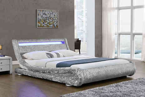 Envisage Home - Crushed velvet LED double bed - Save 72%