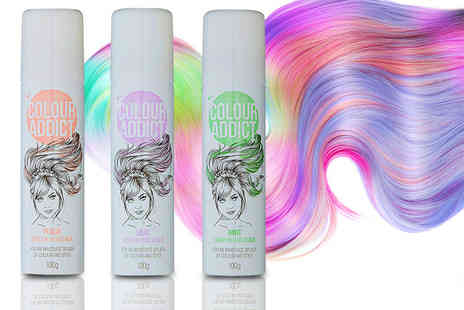 GB Gifts - Three bottles of Colour Addict Spray In Hair Chalk in mint, peach and lilac - Save 56%