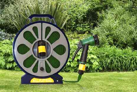 Groupon Goods Global GmbH - One or Two 50ft Flat Hoses and Reels with Spray Gun - Save 72%