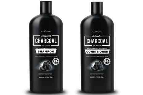 Groupon Goods Global GmbH - All Natural Activated Charcoal Shampoo 500ml, Conditioner 500ml or One, Two or Three Sets - Save 60%