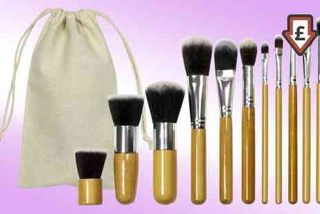 Groupon Goods Global GmbH - One or Two 11 Piece Bamboo Makeup Brush Sets - Save 53%
