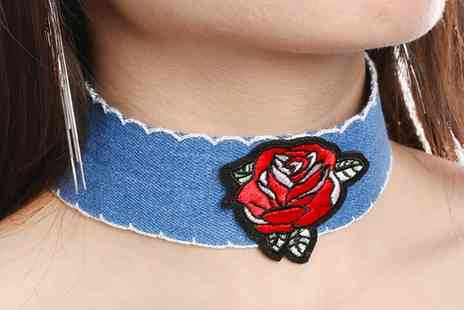 Groupon Goods Global GmbH - Denim Rose Embroidered Choker - Save 60%