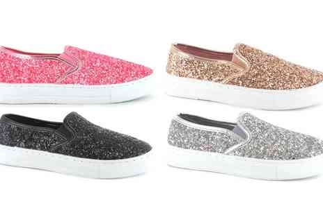 Groupon Goods Global GmbH - Womens Glitter Skater Style Pumps - Save 0%