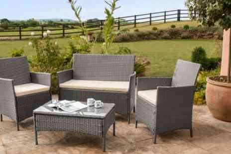 Groupon Goods Global GmbH - Roma PE Rattan Four Piece Garden Furniture Set with Optional Cover With Free Delivery - Save 73%