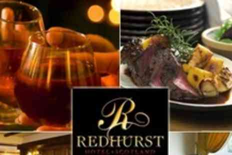 The Redhurst Hotel - In Giffnock One Night Stay For Two With Two Course Meal and Glass of Wine for stays between Monday and Thursday - Save 66%