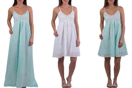 Brand Logic Europe - Pia Rossini Midi or Maxi Summer Dress White or Mint - Save 71%