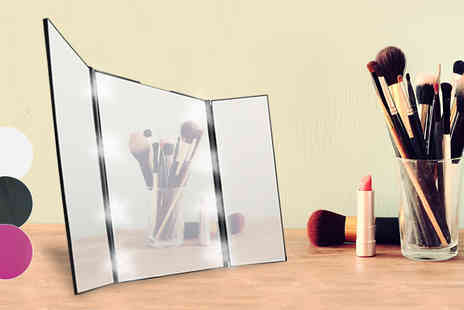 H&C Electronics - Tri Fold LED Make Up Mirror in 3 Colours - Save 82%