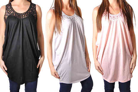 Nothing New 2 Wear - Cocoon tunic vest with mesh lattice detail - Save 76%