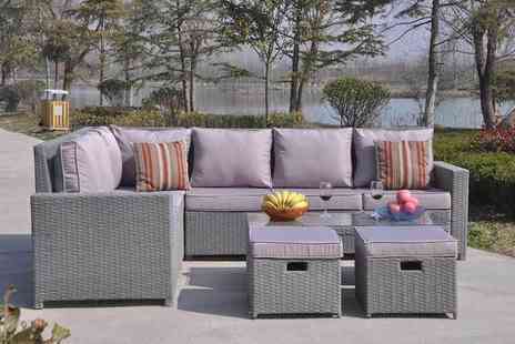 Dreams Living - Eight seater L shaped rattan dining set - Save 51%
