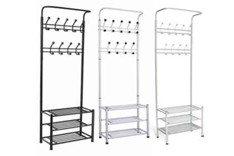 Groupon Goods Global GmbH - One or Two 18 Hook Multi Function Shoe and Coat Storage Racks - Save 0%