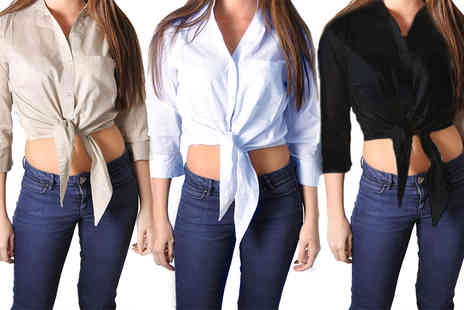Nothing New 2 Wear - Front tie cropped shirt select from three sizes and colours - Save 73%